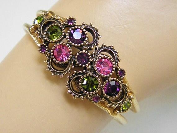 Vintage Sarah Coventry Rhinestone Cuff Bracelet, 70s