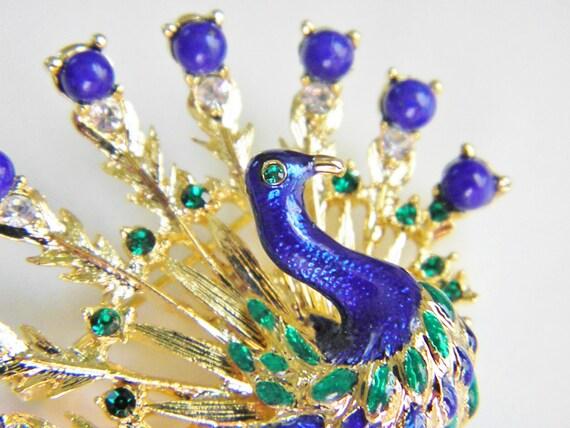 Vintage Peacock Brooch, Lapis Lazuli