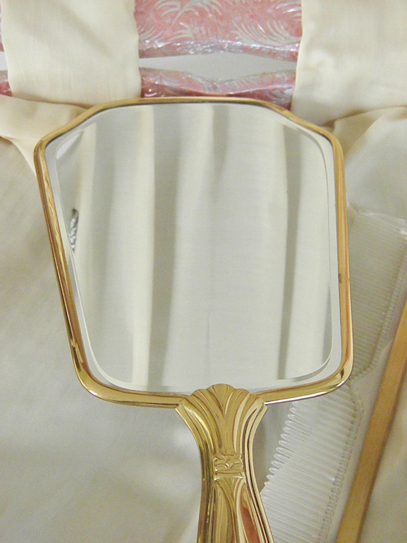 Vintage Dresser Set Original Heart Box Brush Trinket Comb