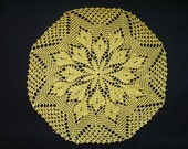 Yellow hand crocheted doily 35cm. across