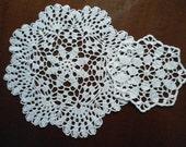 Set of 2  crochet doily  white