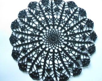 Black crochet doily lace doilies