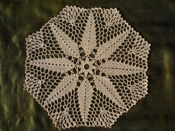Crochet lace doily , ecru doily ,12inches ,round ,placemat