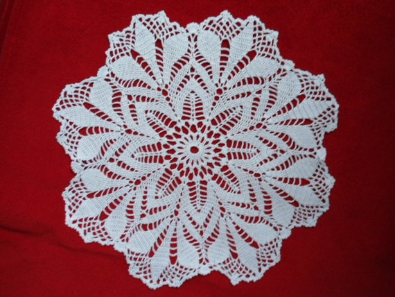 Handmade crochet doily - pot holder - white - 15 inches  - home decor - lace