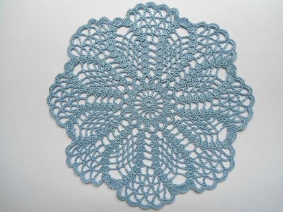 Round crochet doily blue
