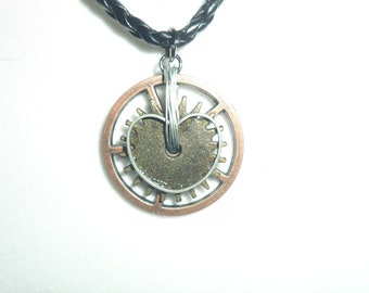 Mixed- Metals Steampunk Heart Pendant on a Black Cord
