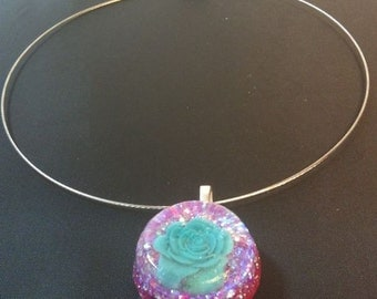 Rose Pendant on a Silver Wire Necklace