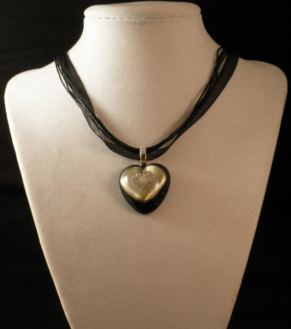 Silver Heart Pendant on a Black Multi-Ribbon Necklace