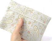 Pencil pouch, paisley pastel pale silver blue grey gray pencil case, cosmetic pouch for your purse