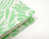 Moleskine cover green ivory cream white for large size journal 21x13cm or 5.25x8.25 inches, planner cover, handmade fabric book covers