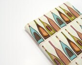 Fun A6 notebook with wine bottles, cream turquoise brown green orange pink, gifts for a wine connoisseur
