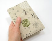 Garden fabric covers for pocket Moleskine, natural beige taupe botanical print linen, Gifts for her under 35