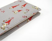 Pocket Moleskine notebook cover, grey red woodland mushrooms, Cotton anniversary gift idea for her under 30 for Her