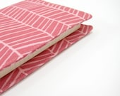 Pink geometric pocket Moleskine cover, refillable notebook cover, handmade by greengrass2 - greengrass2