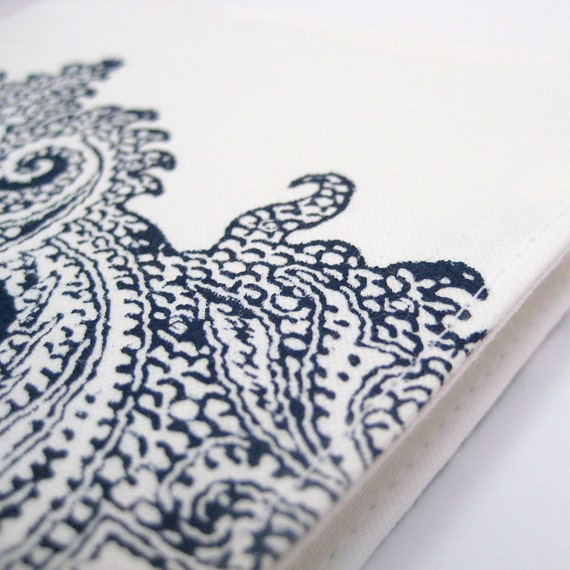 2013 Diary Day to a Page or Week in View, white navy blue indigo hand stamped cotton covered notebook A6