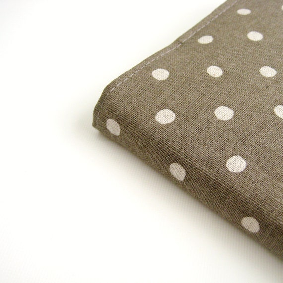 SALE 2013 Diary Planner A6 Notebook fabric covered journal, taupe cream natural polka dots, Gifts for Her, greengrass2
