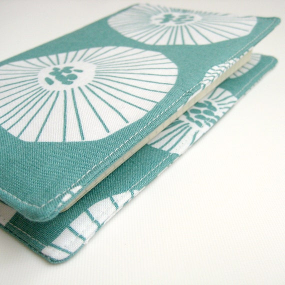 Journal cover teal blue green white, fabric cover for journal or planner, Moleskine pocket notebook, Gifts Mum Mother