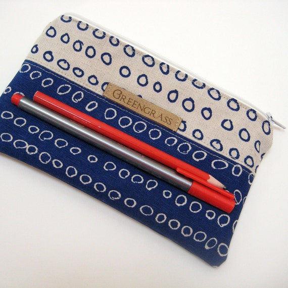 SALE Zip pouch, beige navy blue red Pencil case, Pencil pouch, Zipper pouch for crochet hooks, makeup pouch, greengrass2