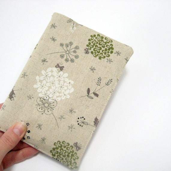 Botanical 2013 planner or A6 notebook, natural white green Journal for a gardener, gift ideas for her under 50 dollars
