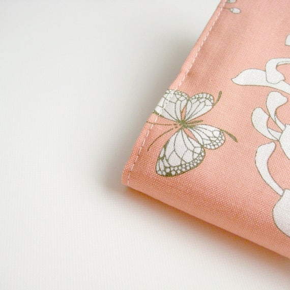 Girly peach butterfly journal notebook, A5 fabric covered notebook, greengrass2