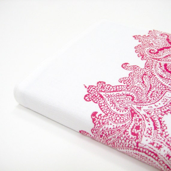 RESERVED Cotton anniversary gift for her, red white paisley Moleskine cover for large planner or journal 5 x 8 inch or 21 x 13 cm