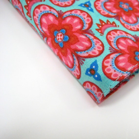 Covers for Moleskine journals, fits large Moleskine 21x13cm, pink red turquoise aqua blue floral