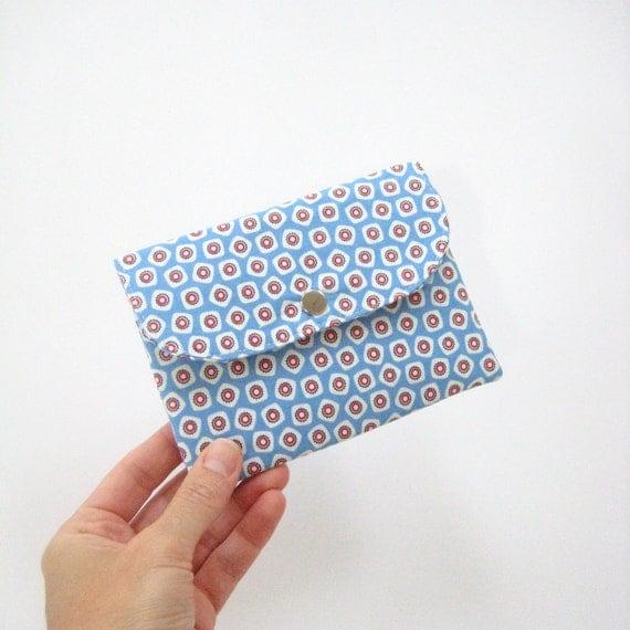 Blue red white fabric passport case for 2 two passports, passport wallet, Gift ideas for women under 25
