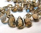 Sale AAA Smoky quartz cut pear briolette-Super- set of 4 Pcs-10 mm approx.