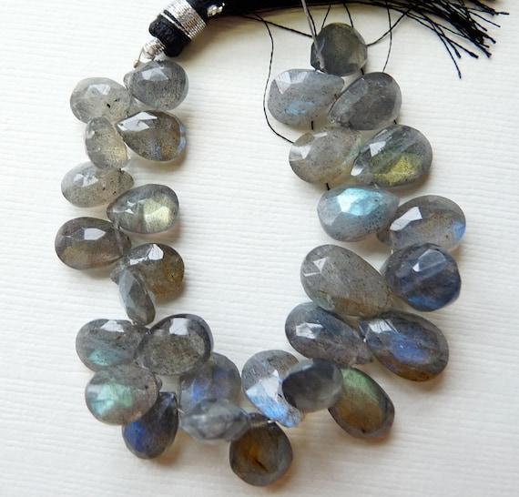 Blue fire Labradorite faceted pear briolette- superb- set of 4 Pcs-10-13 mm
