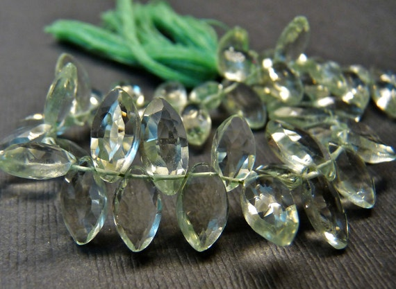 Sale Green amethyst faceted marquise briolette- gorgeous-1/3 strand 14 Pcs- 10-12 mm