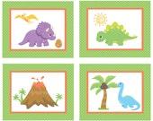 Set of 4 Dinosaur Art Prints