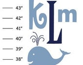 Personalized ABC Whale Canvas Growth Chart - Ribbon