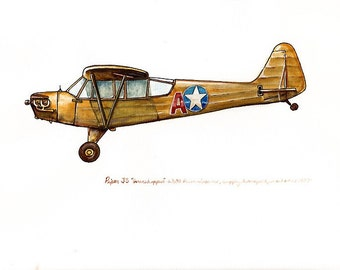 "Piper J3 ""Grasshopper"" vintage airplane watercolor print 8x10"