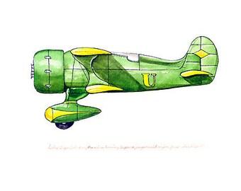 "Laird ""Super Solution"" vintage airplane watercolor print, 8""x10"""
