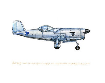 """Bell XP-77, experimental vintage airplane watercolor print, 8""""x10"""""""