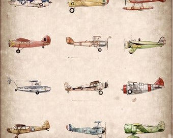 "Vintage Airplane Collection print, 15""x15"""