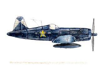 "Vought F4U Corsair vintage airplane watercolor print, 8""x10"""