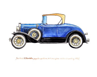 Ford Model A Roadster, vintage automobile watercolor print, 8x10""