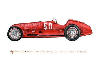 """Alfa Romeo 12C, classic automobile watercolor print, 8x10"""""""