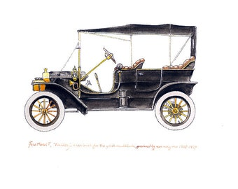 "Ford Model T, ""Tin Lizzy"" classic automobile watercolor print, 8x10"""