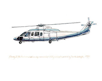 Sikorsky S-76, Aircraft watercolor paint, 8x10