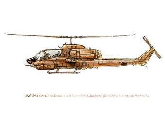 "AH-1 Cobra, vintage helicopter watercolor print, 8x10"""