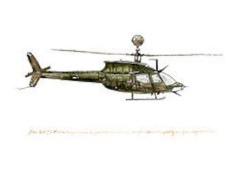 Bell OH-58 Kiowa, US Army Aviation watercolor print, 8x10""