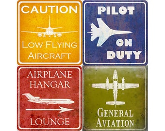 "Vintage Aviation Hangar Signs - ONE 10x10"" Print - Your choice"