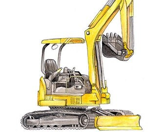 "Excavator Backhoe construction watercolor print, 8x10"""