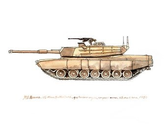 M1A1 Abrams, us army tank watercolor print, 8x10""