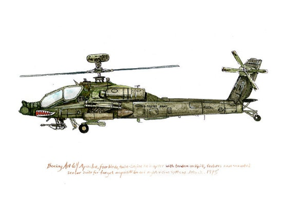 AH-64 Apache, us army aviation watercolor print, 8x10""