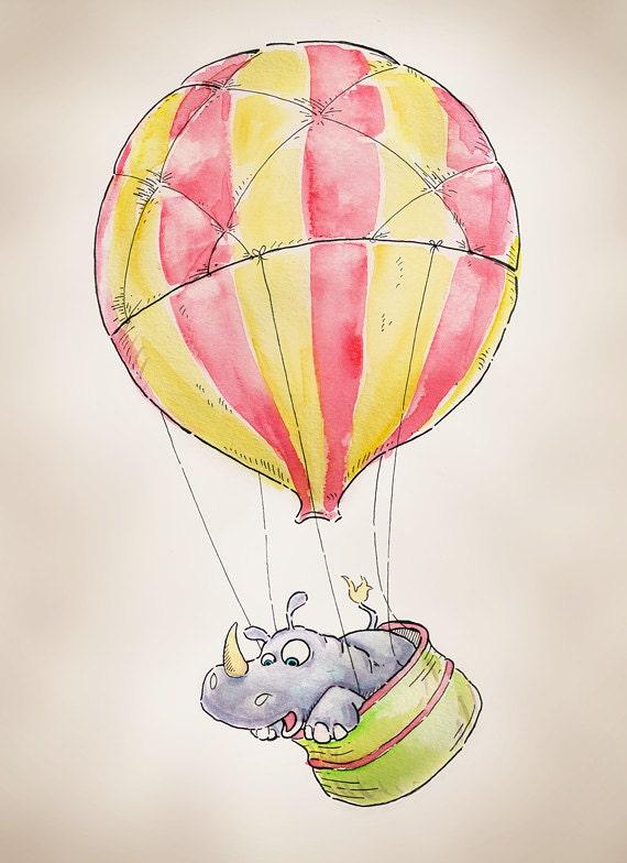 """Hot Air Balloon Rhinoceros print, 8x10"""""""