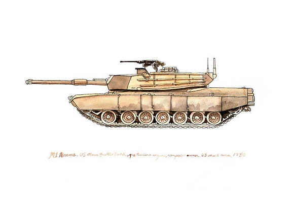 """M1A1 Abrams, us army tank watercolor print, 8x10"""""""