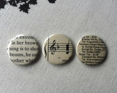 Set of 3 Three Button Badges Sepia Combo Literature Map Music D Pin back Black and White